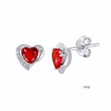 Wholesale Sterling Silver 925 Rhodium Plated Heart with Birthstone Center Stud Earrings July - STE01028-JUL