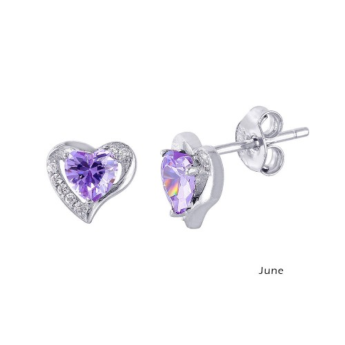 Wholesale Sterling Silver 925 Rhodium Plated Heart with Birthstone Center Stud Earrings June - STE01028-JUN