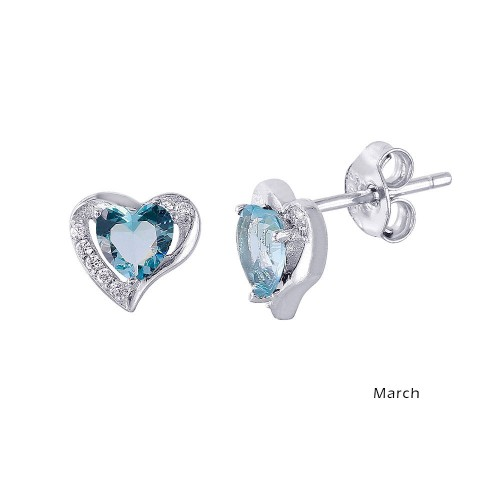 Wholesale Sterling Silver 925 Rhodium Plated Heart with Birthstone Center Stud Earrings March - STE01028-MAR