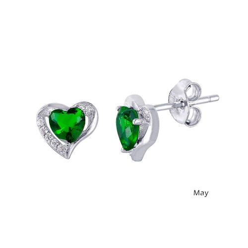 Wholesale Sterling Silver 925 Rhodium Plated Heart with Birthstone Center Stud Earrings May - STE01028-MAY