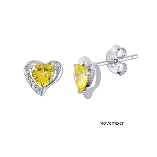 Wholesale Sterling Silver 925 Rhodium Plated Heart with Birthstone Center Stud Earrings November - STE01028-NOV