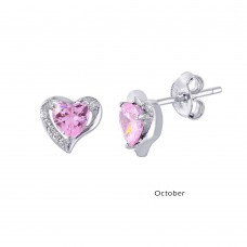 Wholesale Sterling Silver 925 Rhodium Plated Heart with Birthstone Center Stud Earrings October - STE01028-OCT