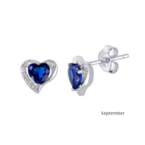 Wholesale Sterling Silver 952 Rhodium Plated Heart with Birthstone Center Stud Earrings September - STE01028-SEP