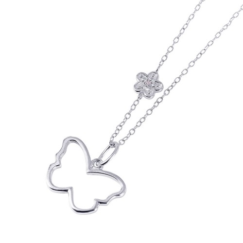 Wholesale Sterling Silver 925 Rhodium Plated Open Butterfly with Flower CZ Necklace - STP01451
