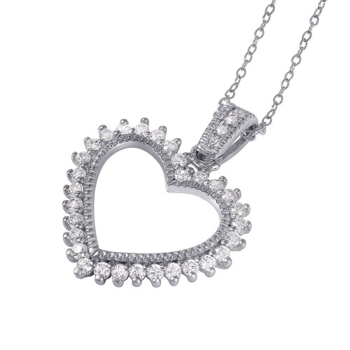 Wholesale Sterling Silver 925 Rhodium Plated Open Heart CZ Necklace - STP01458