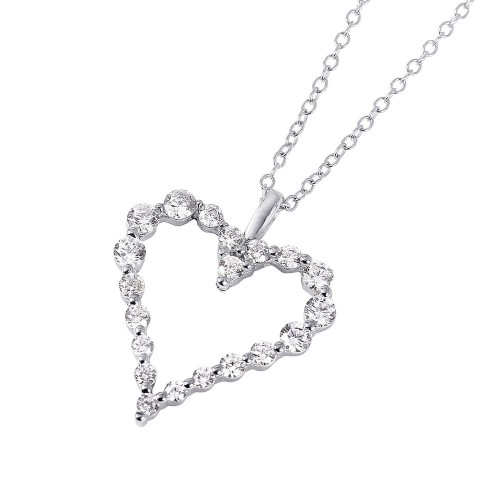Wholesale Sterling Silver 925 Rhodium Plated Open Heart CZ Pendant Necklace - STP01459