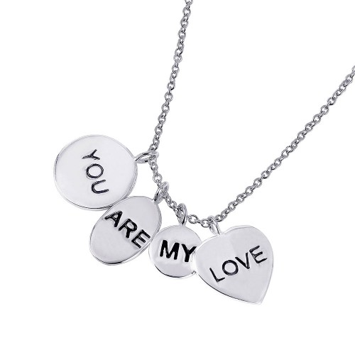 Wholesale Sterling Silver 925 Rhodium Plated 4 Engravable Disc You Are My Love Necklace - STP01501