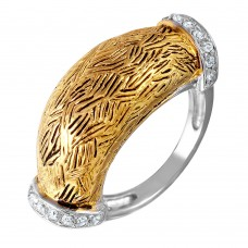 **Closeout** Wholesale Sterling Silver 925 2 Toned Rhodium Plated and Gold Plated with CZ Ring - STR00270