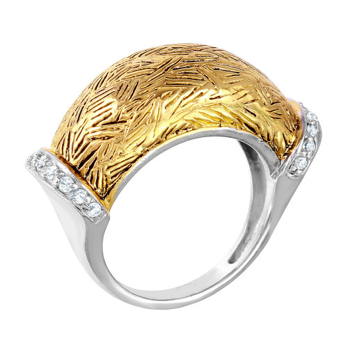 -Closeout- Wholesale Sterling Silver 925 2 Toned Rhodium Plated and Gold Plated with CZ Ring - STR00270