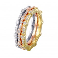 Wholesale Sterling Silver 925 Multi-Plated Three Piece Round Stackable CZ Rings - STR01041TRI