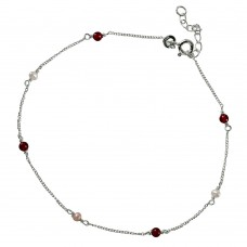 Sterling Silver Chain Link Anklet with Multiple Beads -  A003
