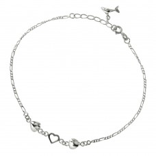 Sterling Silver Hearts Anklet with Dangling Dolphin - A007