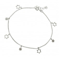 Sterling Silver Star Charm Anklet A008