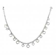 Wholesale Sterling Silver 925 Multi Dangling Open Hearts Anklet - ANK00001