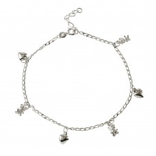 Sterling Silver Hearts And Bears Charm Anklet  - A021
