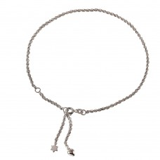 Sterling Silver Rope Chain Anklet with Dangling Star and Heart - A024