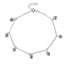 Sterling Silver Multi Hearts Charm Anklet a026