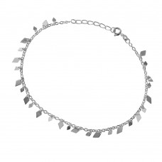 Sterling Silver Diamond Shape Charm Anklet - A031