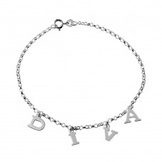 Sterling Silver DIVA Chain Link Anklet - A036