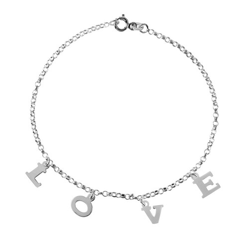 Wholesale Sterling Silver 925 LOVE Dangling Charm Link Anklet - ANK00004