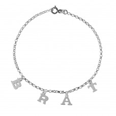 Sterling Silver BRAT Chain Link Anklet - A041