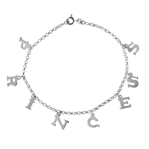 Wholesale Sterling Silver 925 PRINCESS Dangling Charm Link Anklet - ANK00006