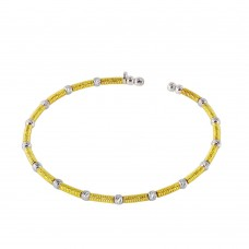 Wholesale Sterling Silver 925 Gold and Rhodium Plated Thin Two Tone Bangle - ARB00002GP/RH