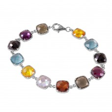 Wholesale Sterling Silver 925 Rhodium Plated Multi Color CZ Tennis Bracelet - BGB00257