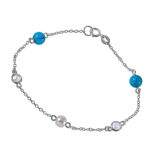Wholesale Sterling Silver 925 Link Bracelet with Turquoise Beads, Synthetic Pearl and CZ - BGB00259