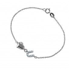 Wholesale Sterling Silver 925 Chain Link Bracelet with Love Shape and CZ U - BGB00260
