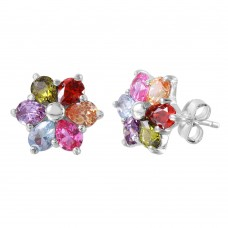 Wholesale Sterling Silver 925 Multi Color CZ Flower Stud Earrings - BGE00465