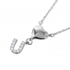 Wholesale Sterling Silver 925 Rhodium Plated Heart and CZ U Necklace - BGP01064