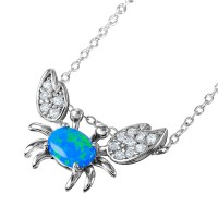 Wholesale Sterling Silver 925 Rhodium Plated Crab Necklace with CZ and Synthetic Blue Opal - BGP01065