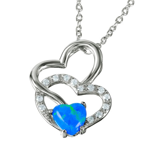 Wholesale Sterling Silver 925 Double Open Heart with Synthetic Blue Opal and CZ Necklace - BGP01066