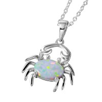 Wholesale Sterling Silver 925 Rhodium Plated Synthetic White Opal Center Stone Crab Necklace - BGP01069WHT