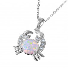 Sterling Silver Rhodium Plated Crab with CZ and Synthetic Opal Center Stone - BGP01070WHT