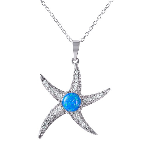 Wholesale Sterling Silver 925 Rhodium Plated CZ Starfish with Synthetic Blue Opal Necklace - BGP01072