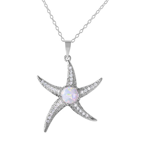 Wholesale Sterling Silver 925 Rhodium Plated CZ Starfish with White Center Stone Necklace - BGP01072WHT