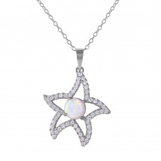 Wholesale Sterling Silver 925 Rhodium Plated CZ Open Starfish with White Center Stone Necklace - BGP01073WHT