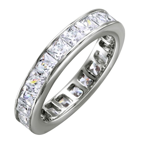 Wholesale Sterling Silver 925 Rhodium Plated Clear Baguette CZ Eternity Ring - BGR00760