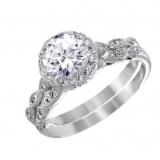 Wholesale Sterling Silver 925 Nickel Free Rhodium Plated Round Halo CZ Bridal Ring - BGR01005