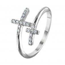 Wholesale Sterling Silver 925 Rhodium Plated Double CZ Cross Ring - BGR01013