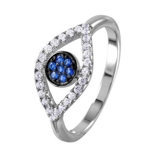 Wholesale Sterling Silver 925 Rhodium Plated Open Evil Eye Ring with Blue Center Stones - BGR01024