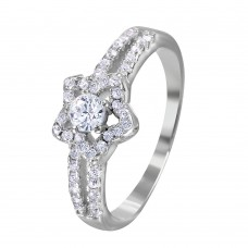 Wholesale Sterling Silver 925 Rhodium Plated Split Shank Open Star CZ Encrusted Ring - BGR01033