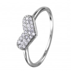 Wholesale Sterling Silver 925 Rhodium Plated CZ Encrusted Heart Ring - BGR01034