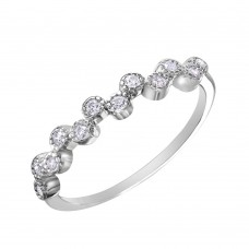 Wholesale Sterling Silver 925 Rhodium Plated Alternating Bubble Design CZ Ring - BGR01036