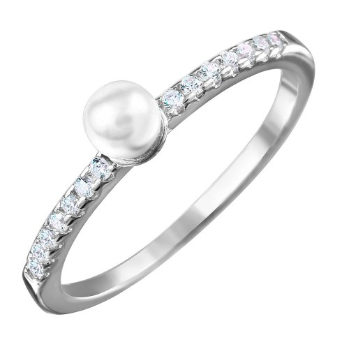 Wholesale Sterling Silver 925 Rhodium Plated Synthetic Center Pearl Ring with Cubic Zirconia Stones - BGR01037