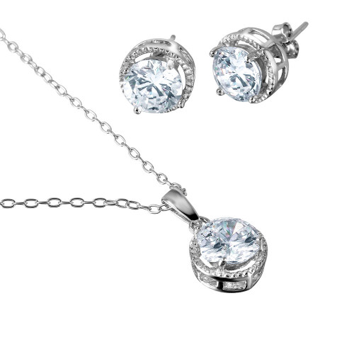 Wholesale Sterling Silver 925 Rhodium Plated Halo Design CZ Set - BGS00461