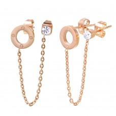 Stainless Steel Rose Gold Chain Double Stud Earring - SSE00104RGP