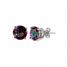 Wholesale Sterling Silver 925 Rhodium Plated Synthetic Mystic Topaz ABD Round CZ Basket Set Studs - STE00947ABD-5MM